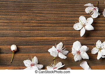 texture bois, fond, grain bois, fleurs