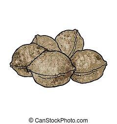 texture cartoon walnuts