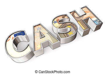 Texture Cash Euro - shiny word Cash on white surface...