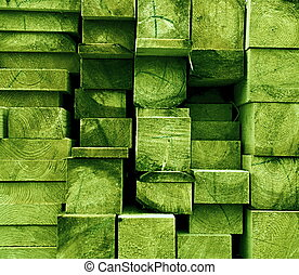 texture cut spruce joists painted light green color