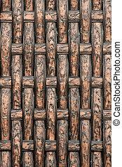 texture, de, bambou, panier