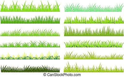 texture, dessin animé, vecteur, arrière-plan vert, horizontal, herbe, blanc
