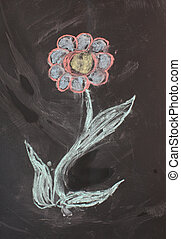 Texture, drawing with chalk on a blackboard black