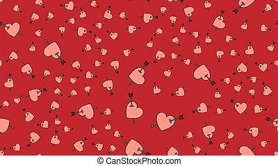 Texture endless seamless pattern from flat icons of hearts with arrows, love items for the holiday of love Valentine's Day February 14 or March 8 on a red background. Vector illustration