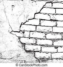 texture, endommagé, brique
