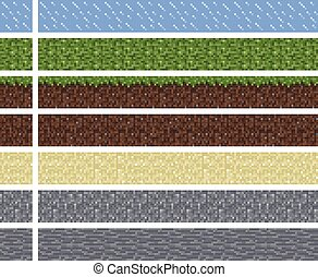 Texture for platformers pixel art vector - mud grass stone ground tile isolated square block