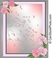 Texture from rose, sakura and lotus petals. Background with round place for text. Frame pattern, floral template