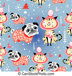 texture in love cats and pugs winter - eamless jolly pattern...