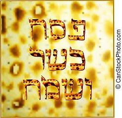Texture matzo. The golden inscription Pesach kosher Sameah ...