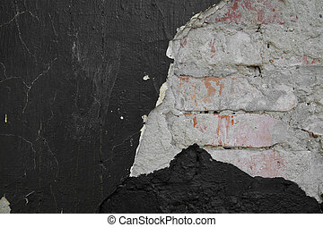 texture of a black wall with a red brick