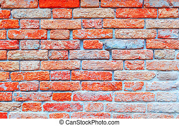Texture of a brick wall made from an old red bricks. Picture...
