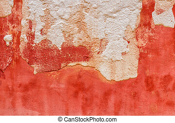 Texture of a medieval old plaster wall in Venice. Italy.