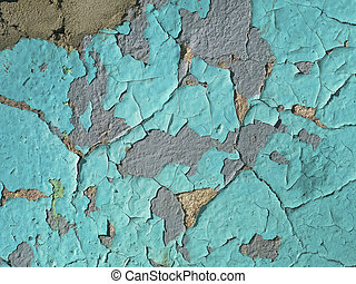 Texture of a wall with the cracked blue paint