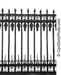Texture of a wrought-iron fence on a white background