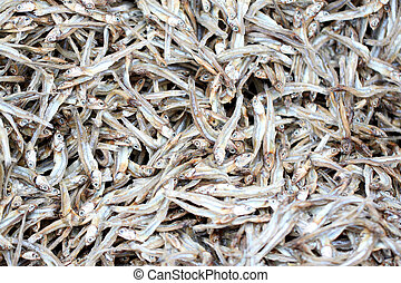 texture of anchovy fish after drying in sunlight.