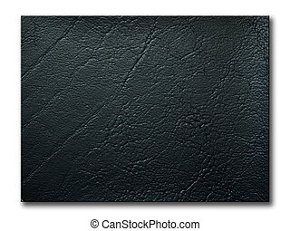 texture of black leatherette sample on white background and...