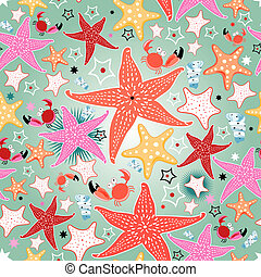 texture of bright sea stars - seamless bright pattern of sea...