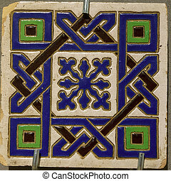 Texture of ceramic tiles in oriental East style. Turkish ceramic tiles lined on the wall. Old azulejo pattern floral ornament on floor. Ottoman traditional art. Moroccan portuguese mosaic background