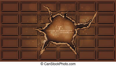chocolate bar with a hole chocolate background
