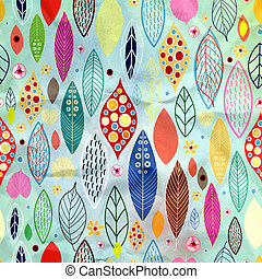 texture of colorful leaves - Seamless pattern from autumn...