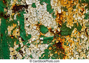 Texture of cracked yellow green paint in high definition