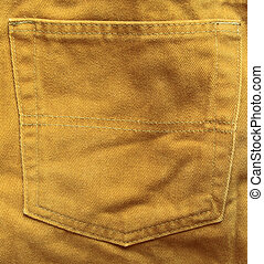 texture of crumpled brown jeans pocket