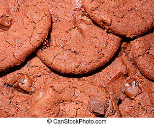Texture of dark chocolate cookie
