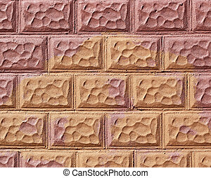 Texture of decorative brick wall that has been painted in two different colors