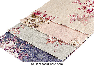 Texture of Fabric with Colored Flowers. Background.