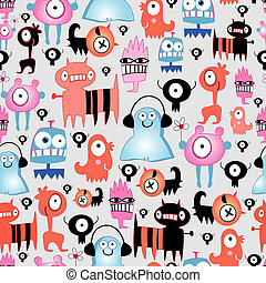 texture of funny monsters - seamless pattern of funny little...