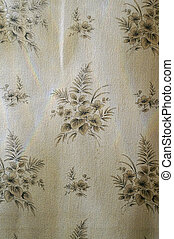 Texture of gray paper wallpaper with floral pattern
