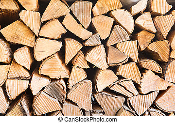 Texture of light stack of wood. Natural cozy background concept with place for text