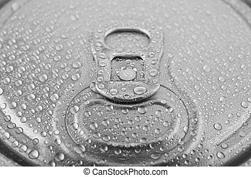 texture of metal can in water drops as background