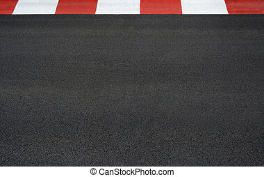 Texture of motor race asphalt and curb Grand Prix circuit - ...