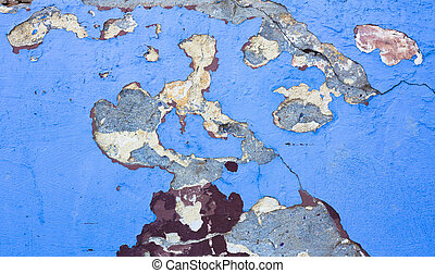 texture of old cracked wall with blue painting