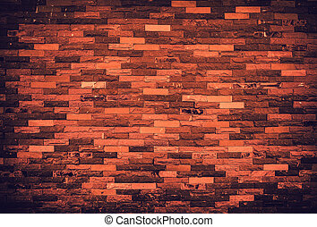 Texture of old grunge brick wall background. Vignette effect.