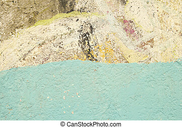 Texture of old painted wall with blue stripe