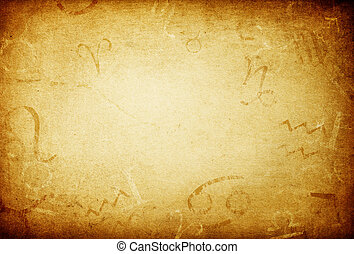Texture of old paper with zodiac signs, abstract astrology...