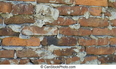 Texture of old red brick wall background.