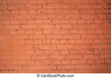 Texture of old red brick wall, painted in red