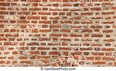 Texture of old red brick wall - panoramic photo