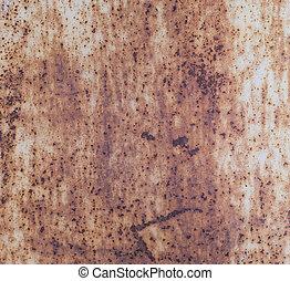 Texture of old rusty iron orange door