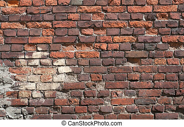 Texture of old wall of red brick