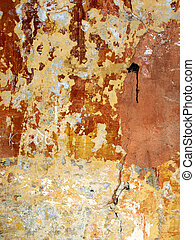 texture of old wall with cracks and shabby paint.