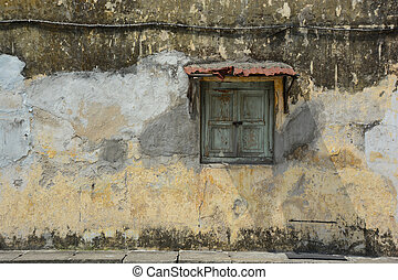 texture of old wall with window