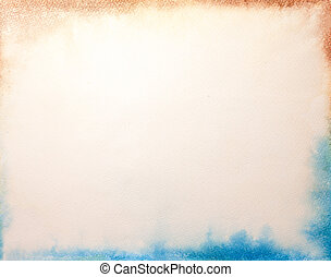 Texture of old white paper, crumpled background. Vintage beige surface backdrop with blue and brown frame.