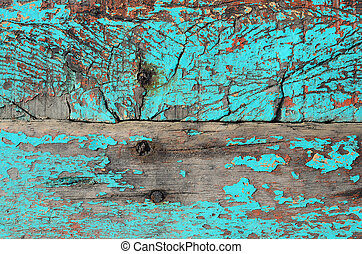 Texture of old wooden panels on fisherman's boat.