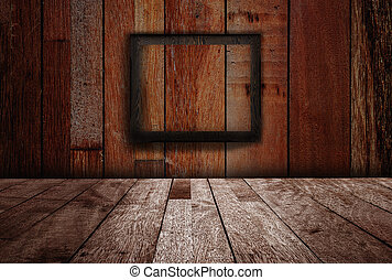 Texture of over dark wood with frame