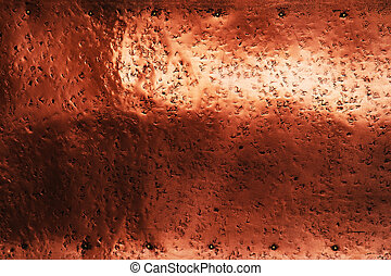 texture of patinated copper sheet