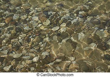 Texture of pebbles under water #2